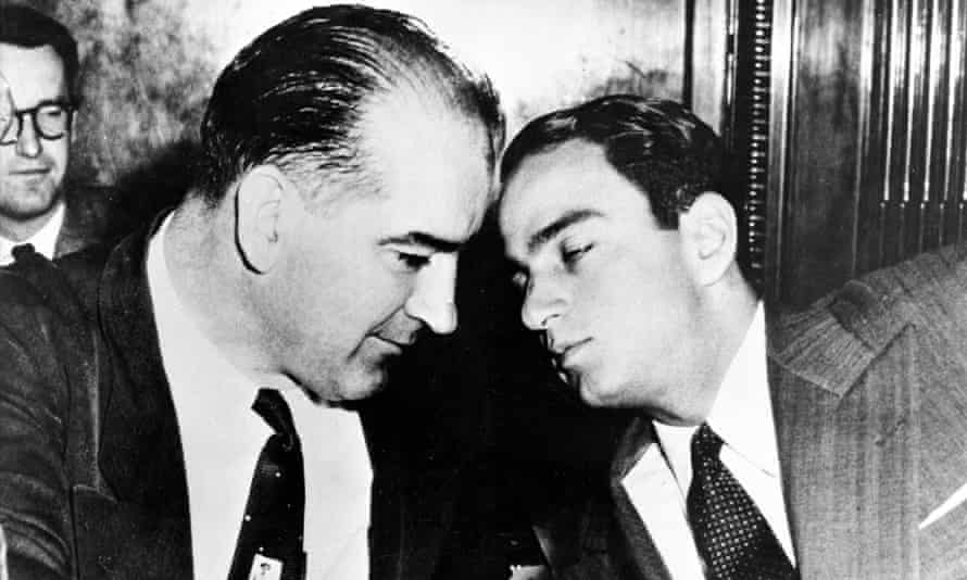 Senator Joseph McCarthy, left, with attorney Roy Cohn, later a mentor to Donald Trump, during congressional hearings in the 1950s.