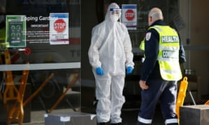 Medical staff and a health commander are seen at the Eppings Gardens aged care facility in Melbourne, which has experienced an outbreak of coronavirus. The aged care royal commission has been told that Australia's rate of death in residential aged care from Covid is the second-highest in the world.