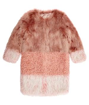 Pink patch faux fur coat