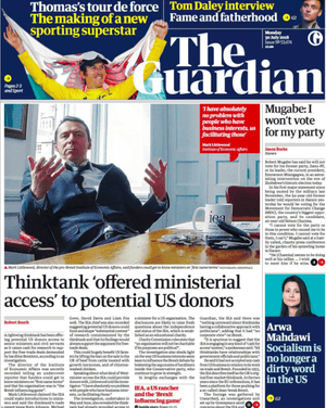 Guardian front page 30 July 2018