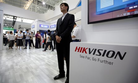 A Hikvision logo is seen at an exhibition during the World Intelligence Congress in Tianjin, China