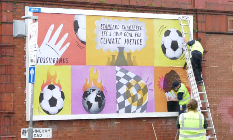 One of the billboard posters being installed in Manningham Road, Liverpool.