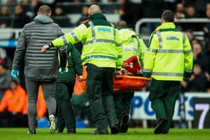 A tearful Salah leaves the pitch on a stretcher.