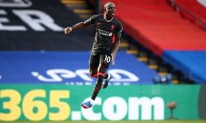 Sadio Mané celebrates Liverpool's second goal at Crystal Palace