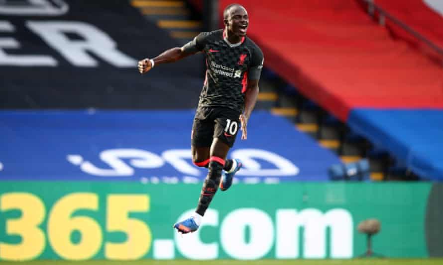 Sadio Mané celebrates scoring Liverpool's second goal at Crystal Palace