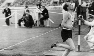 Derek Ibbotson breaking the world record for the mile at White City, London.