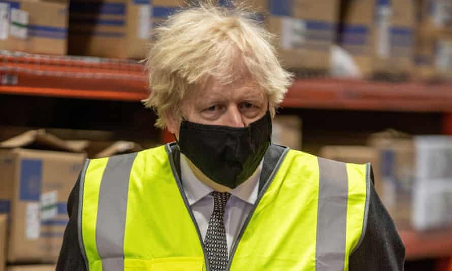 Boris Johnson on a visit to the Oxford BioMedica plant in Oxford, where the AstraZeneca Covid-19 vaccine is being manufactured.