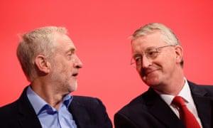 Jeremy Corbyn (left) and the shadow foreign secretary Hilary Benn (right)