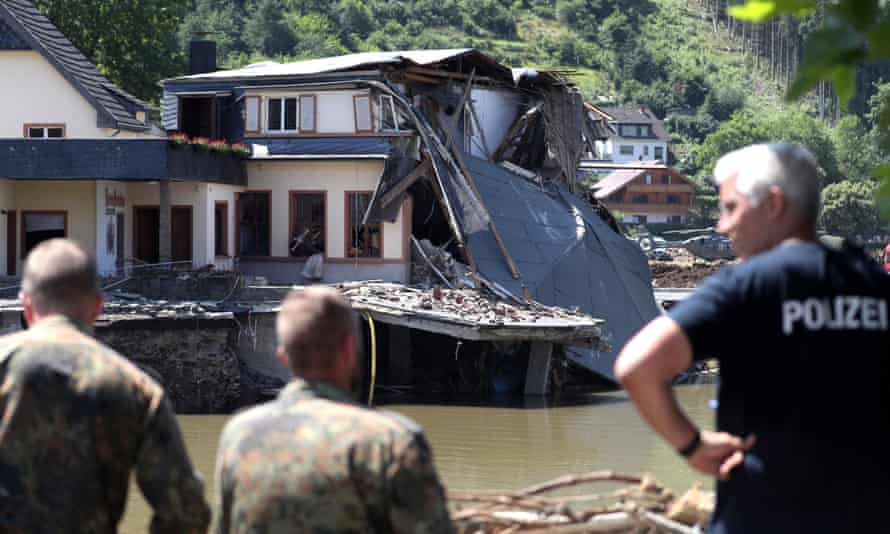 Soldiers inspect damage after the flooding of the Ahr River, in Rech in the district of Ahrweiler, Germany, on 21 July.