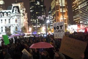 Demonstrators in Philadelphia, Pennsylvania.