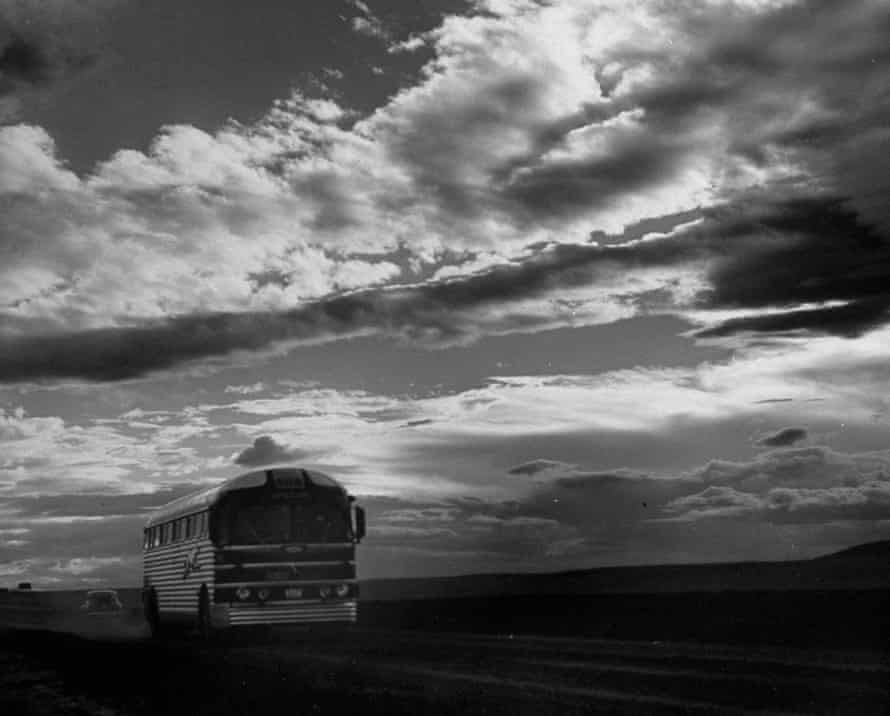 Poetry in motion … a Greyhound bus on the road.