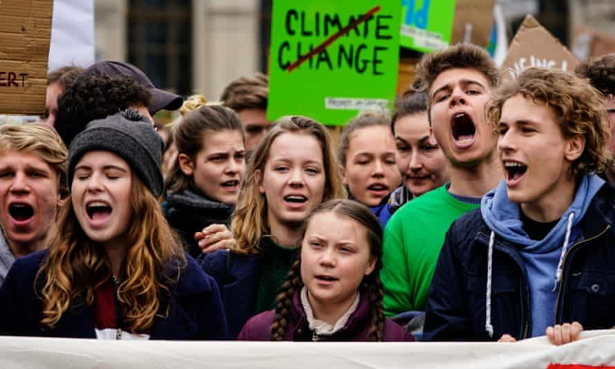 Greta Thunberg (C) at a protest against the climate crisis in Berlin, Germany.