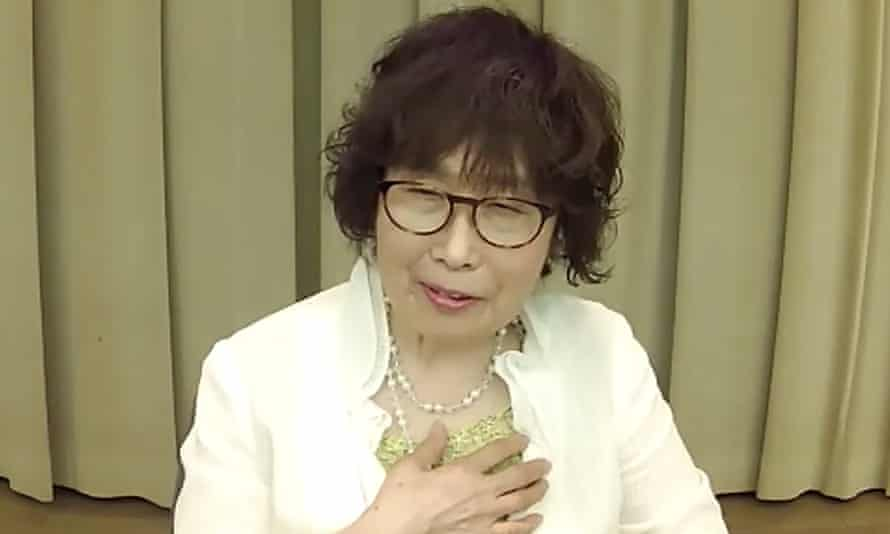 Keiko Ogura speaks during a video press conference from Hiroshima in July 2020.