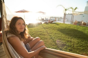 Sarah Marsh in a hammock, Morrooco