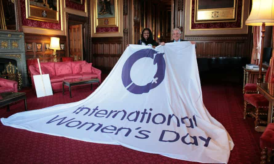 MP Dawn Butler and the Speaker, John Bercow, with the International Women's Day flag.
