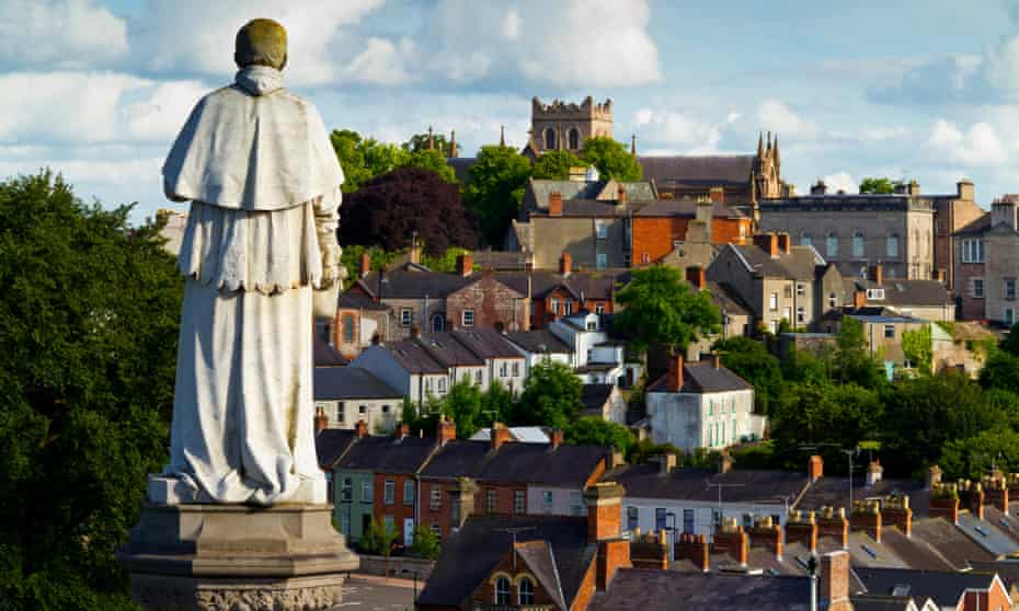 View across Armagh City Northern Ireland UK towards St Patrick's Church of Ireland Cathedral
