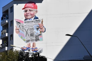 A mural depicting the prime minister, Scott Morrison, is displayed near Central Station