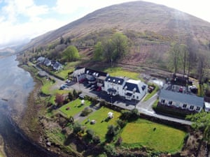 Cairndow Stagecoach Inn, Argyll, Scotland view of pub, loch and surrounding countryside from above
