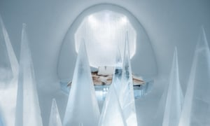 An interior shot of White Desert suite in the Ice Hotel
