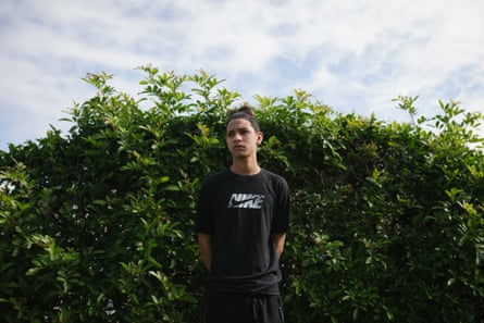 Anthony Borges poses for a portrait outside of his home in Coral Springs, Florida. Borges was shot five times during the Marjory Stoneman Douglas High School shooting on February 14, 2018.