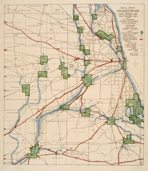 Map of American Indian trails and villages of Chicago, Illinois, and of Cook, DuPage and Will counties, Illinois, in 1804.