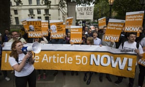 Pro-Brexit demonstrators protest as Theresa May arrives at Downing Street on 13 July.