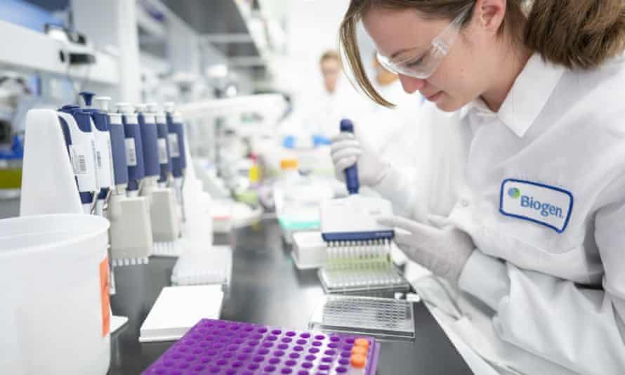 A scientist works in a laboratory at Biogen's headquarters in Cambridge, Massachusetts
