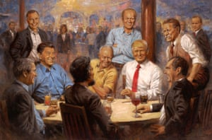 Andy Thomas's painting of Donald Trump and former Republican presidents.