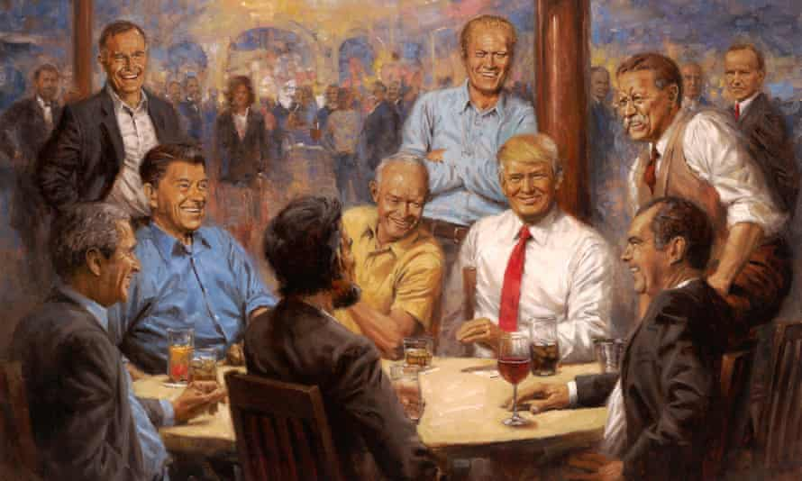 Andy Thomas, of Carthage, Missouri, gave Donald Trump this painting as a gift. The artwork hangs on the wall in the presidential dining room.