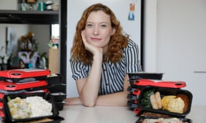 Alyx Gorman, lifestyle editor of Guardian Australia, taste tests various meals sold by Gate Gourmet. The company supplies food to 21 airlines in Sydney.
