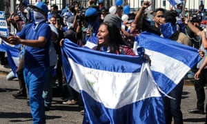 Opposition demonstrators take part in a 'national sit-in' against Daniel Ortega's government in Managua, Nicaragua, on 30 March.