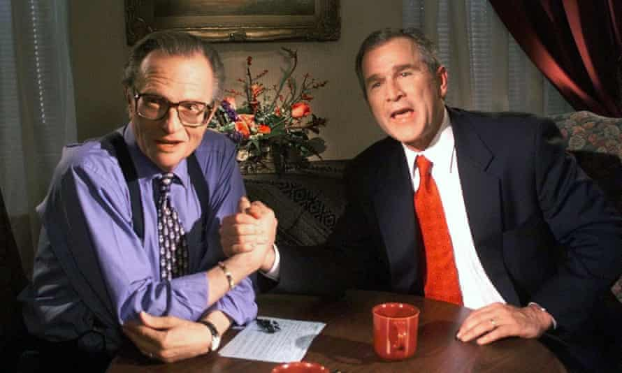 Larry King with George Bush, then the Texas governor, in 1999.