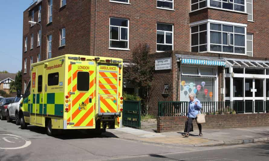 A care home in Muswell Hill, north London with an ambulance outside