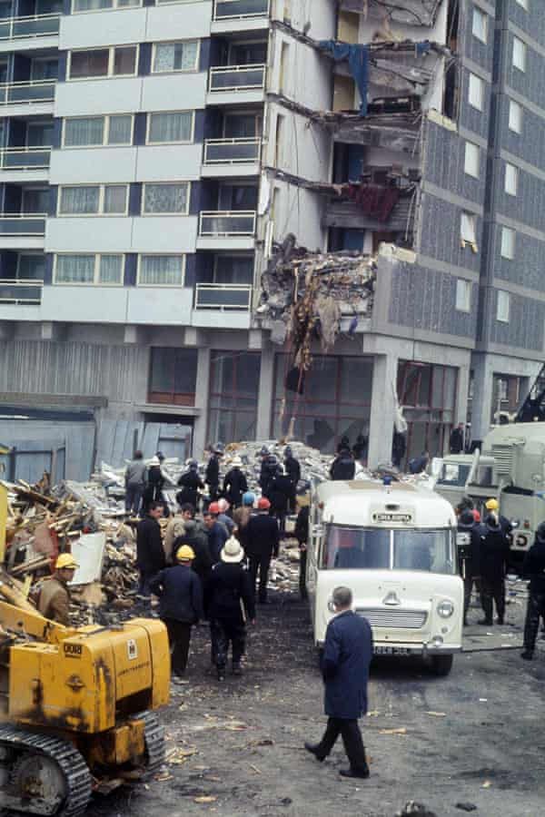 The aftermath of the gas explosion at Ronan Point in Canning Town in 1968.