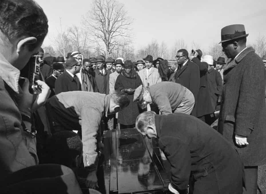 Dr Betty Shabazz at Malcolm X's funeral on 26 February 1965.