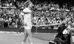 McEnroe takes issue with the umpire during a centre court match at Wimbledon in 1981.