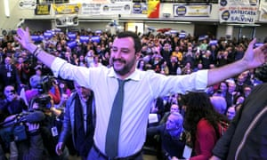 Matteo Salvini and his supporters during his election rally at the Mostra D'Oltremare in Naples.