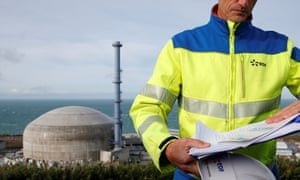 An EDF employee at the construction site of the beleaguered third-generation European Pressurised Water nuclear reactor in Flamanville, France.