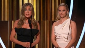 """Jennifer Aniston said Russell Crowe, who won best actor in a limited series for his role in The Loudest Voice, could not make the ceremony as he was """"protecting his family"""" from the Australian bushfires"""