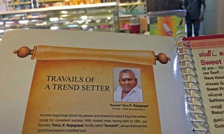 A photo of P Rajagopal on a Saravana Bhavan menu