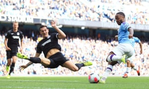 Lewis Dunk of Brighton proved he could do the splits with a daring challenge on Raheem Sterling of Manchester City. The champions were 4-0 winners – result that never seemed in doubt from the moment Kevin De Bruyne netted inside two minutes.