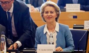 Ursula von der Leyen at a meeting with political groups in Brussels