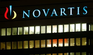 The logo of Swiss drugmaker Novartis