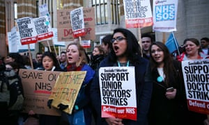 Junior doctors protest outside the Department of Health in February 2016
