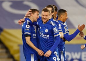 Timothy Castagne is congratulated by Jamie Vardy.