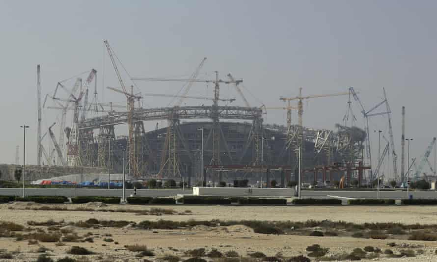 Construction of the Lusail stadium in Qatar, one of the 2022 World Cup stadiums.