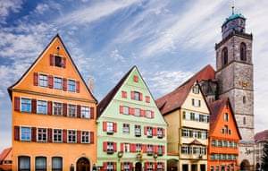 Historical houses and Saint George's Minster (Münster St. Georg) in the old town of Dinkelsbühl, Germany