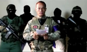 Oscar Peréz reads a statement from an undisclosed location.