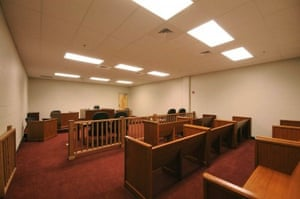 A court room at the LaSalle detention facility.