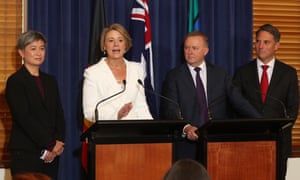 Labor's Penny Wong, Kristina Keneally, Anthony Albanese and Richard Marles. Albanese and Keneally have expressed support for the medevac regime
